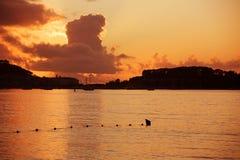 Por do sol de Baiona Fotografia de Stock