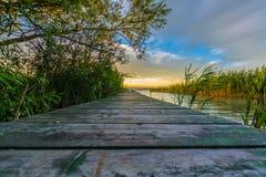 Por do sol de Balaton Foto de Stock Royalty Free