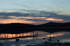 Por do sol de Balaton do lago Foto de Stock