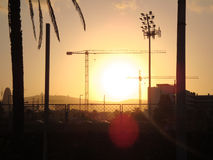 Por do sol de Barcelona Imagens de Stock