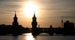 Por do sol de Berlim Imagens de Stock