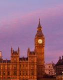 Por do sol de Big Ben Imagem de Stock