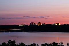 Por do sol de Bloomington, Minnesota imagem de stock