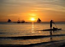 Por do sol de Boracay Fotografia de Stock Royalty Free