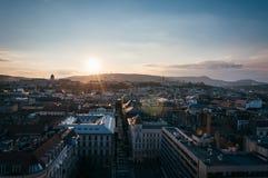 Por do sol de Budapest fotografia de stock