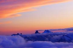 Por do sol de Cáucaso Foto de Stock