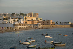 Por do sol de Cadiz Foto de Stock Royalty Free