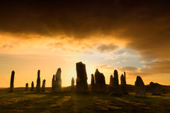 Por do sol de Callanish Fotografia de Stock Royalty Free