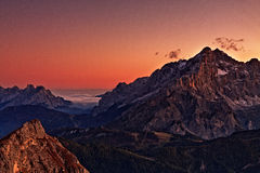 Por do sol de Cernera Imagem de Stock Royalty Free