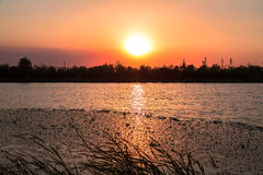 Por do sol de Changshu Shang Lake Imagem de Stock