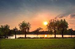 Por do sol de Changshu Shang Lake Fotografia de Stock