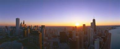 Por do sol de Chicago Imagem de Stock