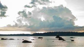 Por do sol de Chidiyatapu, ilhas de Andaman fotografia de stock royalty free