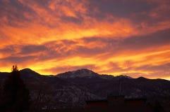 Por do sol de Colorado Springs Fotos de Stock Royalty Free