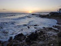 Por do sol de Corfu Fotografia de Stock Royalty Free