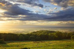Por do sol de Cotswolds Fotos de Stock Royalty Free