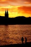 Por do sol de Danúbio Fotos de Stock Royalty Free