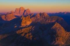 Por do sol de Dolomiti de Lagazuoi imagens de stock