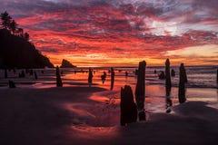 Por do sol de Dramactic da praia do oceano e água vermelha Refleection do céu fotografia de stock royalty free