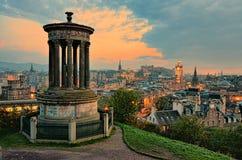 Por do sol de Edimburgo fotografia de stock