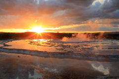 Por do sol de Firehole Foto de Stock