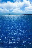 Por do sol de Formentera na praia da alga de Espalmador s Foto de Stock Royalty Free