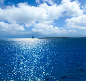 Por do sol de Formentera na praia da alga de Espalmador s Fotos de Stock
