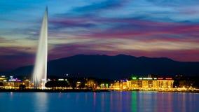 Por do sol de Genebra Imagens de Stock