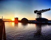 Por do sol de Glasgow Imagem de Stock