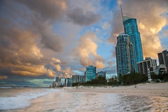 Por do sol de Gold Coast Fotografia de Stock Royalty Free