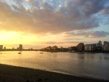 Por do sol de Greenwich Fotografia de Stock Royalty Free