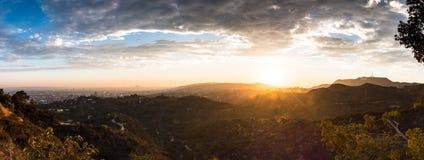 Por do sol de Griffith Observatory Imagens de Stock Royalty Free