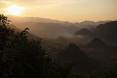Por do sol de Ha Giang Foto de Stock