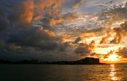 Por do sol de Havana Fotografia de Stock