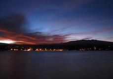Por do sol de Hilo Mauna Kea Fotografia de Stock