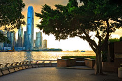 Por do sol de Hong Kong imagens de stock