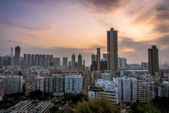 Por do sol de Hong Kong fotos de stock royalty free