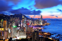 Por do sol de Hong Kong Fotografia de Stock Royalty Free