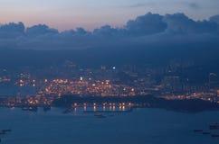 Por do sol de Hong Kong Imagem de Stock