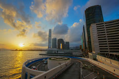 Por do sol de Hong Kong da cidade Fotografia de Stock