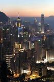Por do sol de Hong Kong Island visto do monte de Braemar Imagens de Stock
