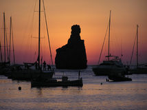 Por do sol de Ibiza Fotografia de Stock