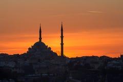 Por do sol de Istambul fotos de stock