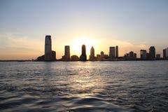 Por do sol de Jersey City Imagens de Stock Royalty Free