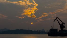 Por do sol de Jiaojiang Imagem de Stock