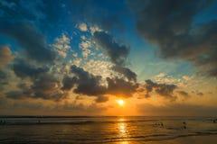 Por do sol de Kuta Foto de Stock