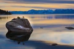 Por do sol de Lake Tahoe Fotografia de Stock
