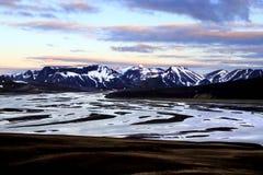 Por do sol de Landmannalaugar imagem de stock