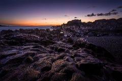 Por do sol de Lanzarote Fotografia de Stock
