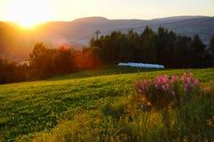 Por do sol de Lillehammer imagens de stock